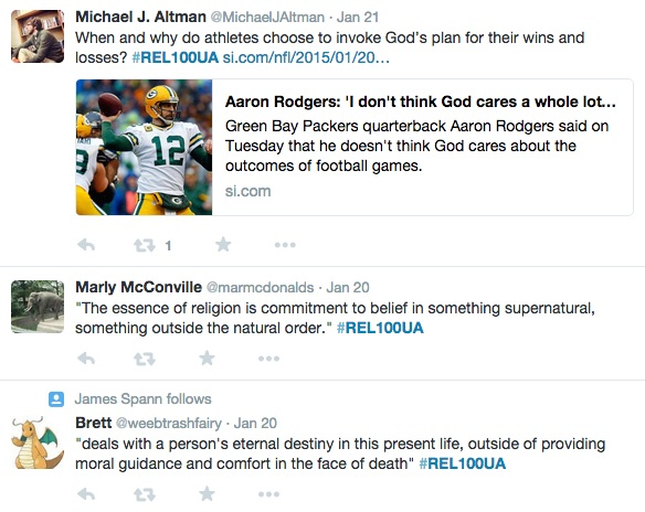 Twitter feed from Dr. Mike Altman's religious studies course
