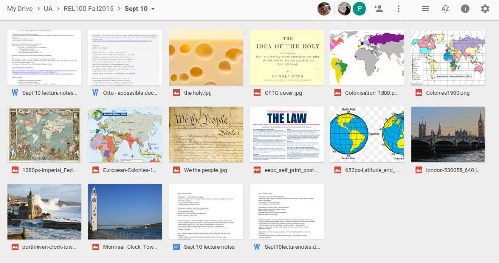 Documents and images in Dr. Loewen's Google Drive