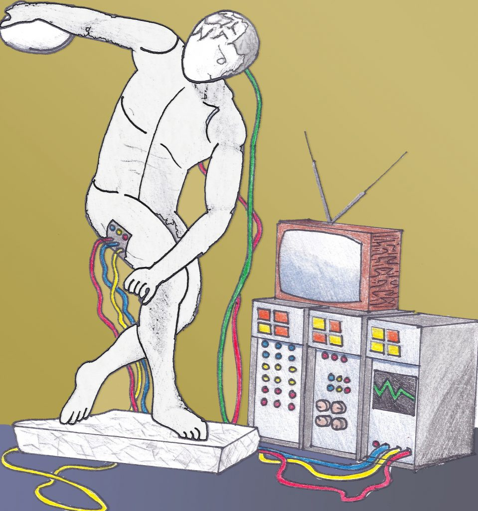 Michelangelo's David connected to a computer