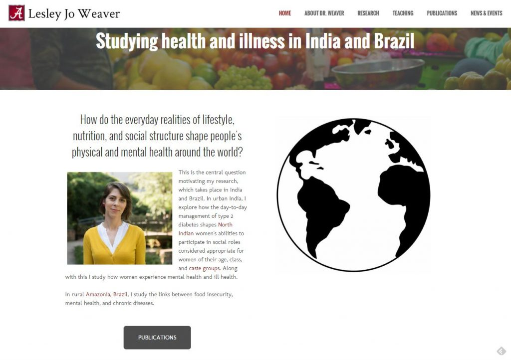 Homepage of Lesley Weaver's faculty website, featuring an outline of the earth, a header with fruits and veggies, and a photo of Lesley in a bright yellow shirt