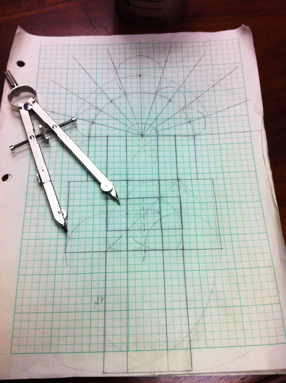 Sketch of cathedral window on graph paper