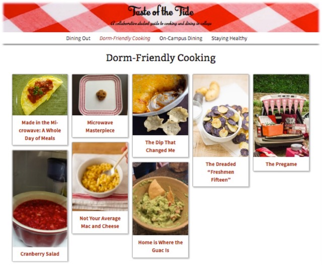 internal page on Taste of the Tide blog featuring different recipes