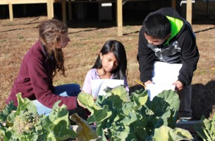 Students talking with children near big, leafy plants