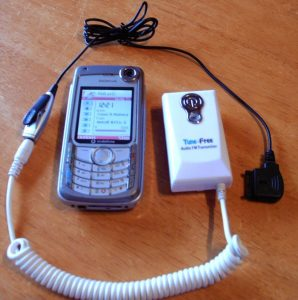 old Nokia cellphone with a corded microphone