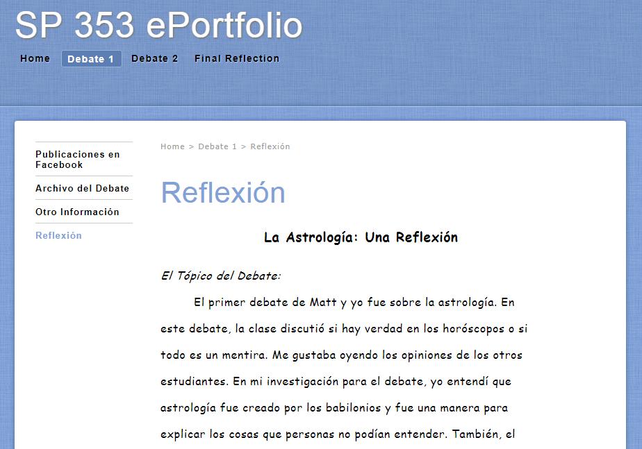 Example portfolio screenshot