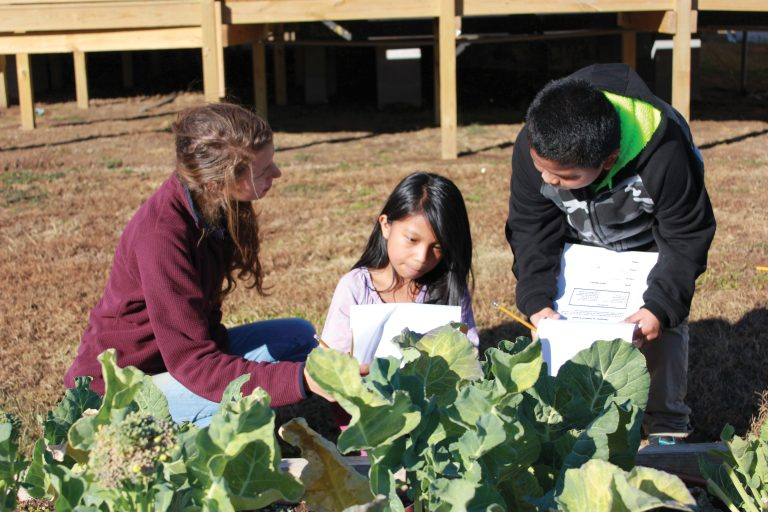 UA students teaching children at the Druid City Garden Project