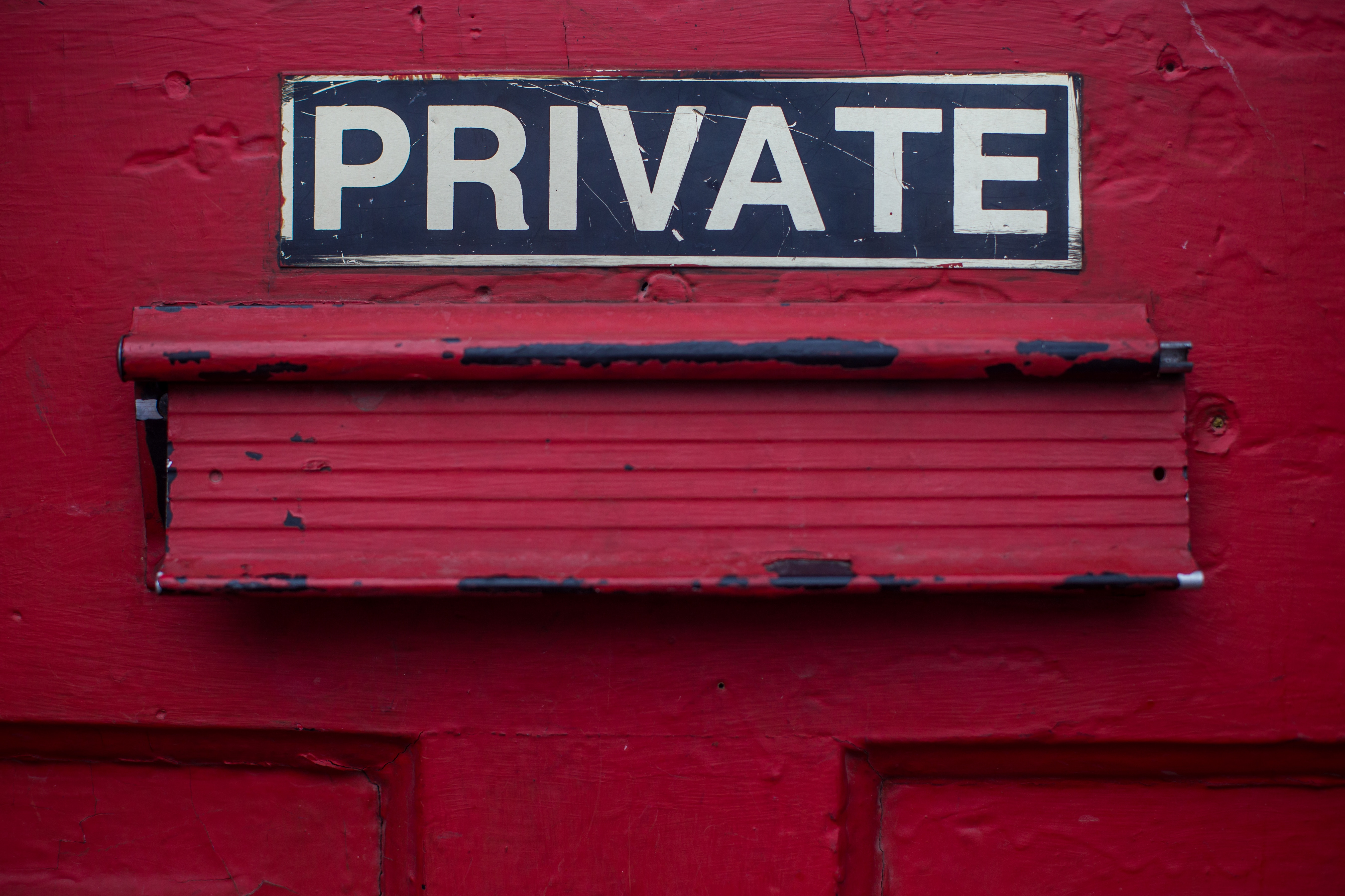 mailbox with the words private