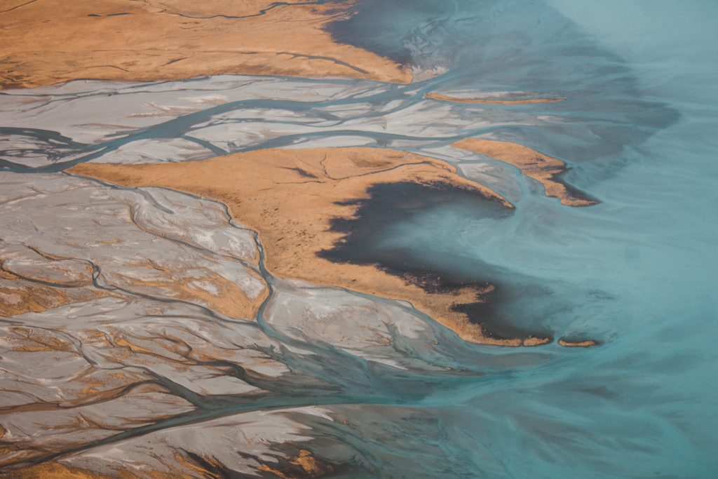 high-altitude image of an estuary