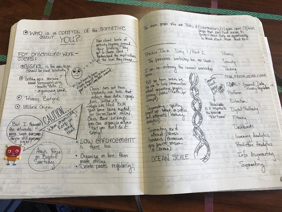 An open page from Heather Pleasants' notebook