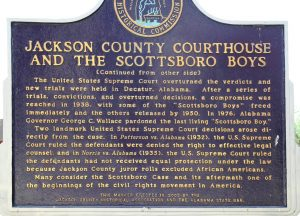Alabama historical commission marker at the Jackson County courthouse explaining the United States Supreme Court overturning of the local court's verdict on the Scottsboro Boys