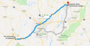 Map showing distance from Tuscaloosa to Gadsden