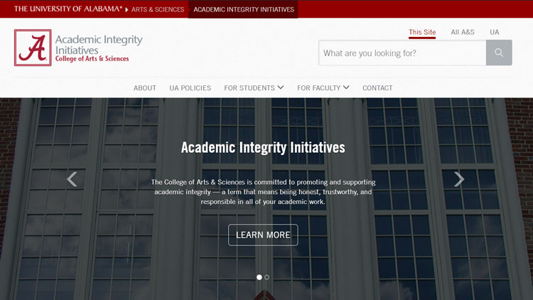 Academic Integrity website homepage