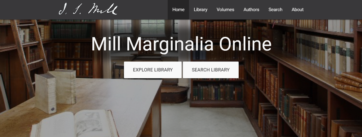 main web page view of mill marginalia online