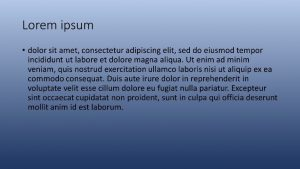 Lorum ipsum text with a blue background that fades to white at the top of the slide