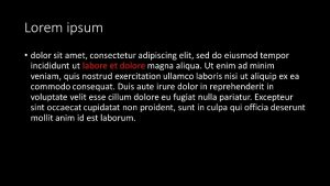 lorum ipsum in white text with an all black background. two of the filler text words are in red font