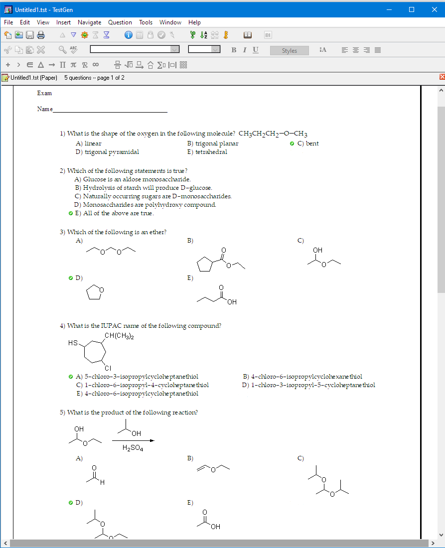 example of TestGen for an online Chemistry Test